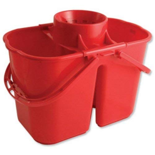 Cubo Doble para fregona, Capacidad de 15 L, Color Rojo