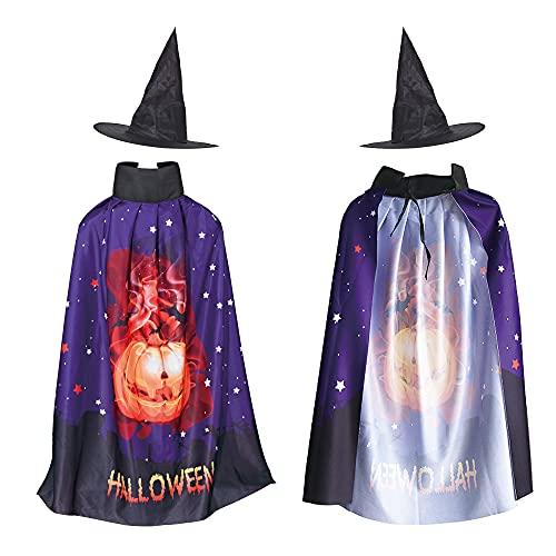 OVISEEN Costume da Strega di Halloween per Bambini, Costume da Mago con Cappello, Mago Mantello Costumi Carnevale Mantelli per Bambini Halloween Festa (32,28 Pollici)