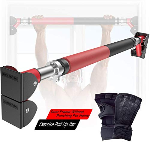 ANXEN Pull Up Bar Doorway with Strength Training Gloves - Practical Fitness Chin-Up Frame for Home Gym Exercise -New Design&Material Upgrade- No Assembly Required