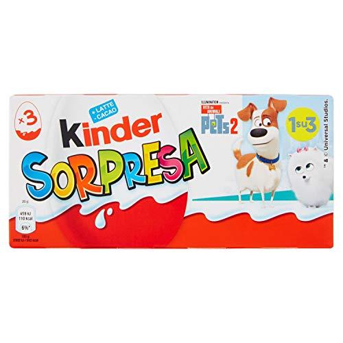 Kinder Ferrero Uovo Dolce con Sorpresa Ricoperto di Cioccolato Finissimo al Latte - 4 confezioni da 3 pezzi da 20 g [12 pezzi, 240 g]