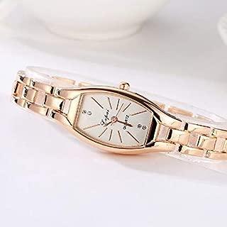 JIANGNIAU Watches P177 Women Irregular Shape Dial Alloy Hollow Strap Bracelet Quartz Watch(Gold Black) (Color : Gold White)