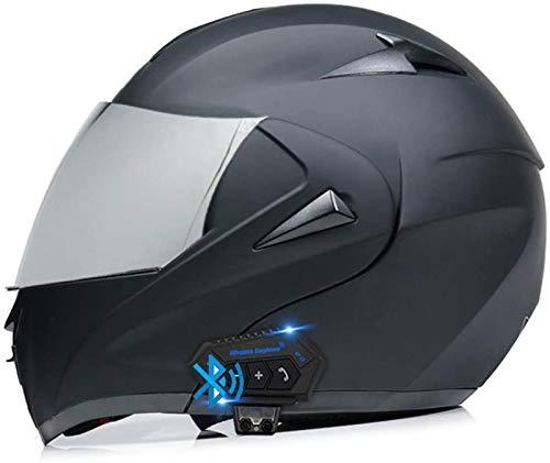 ZLYJ Bluetooth Casco para Motocicleta,Casco Modular Casco Cara Completo Casco Moto Integral con Anti-Niebla Doble Visera, Manos Libres MP3 FM, ECE Homologado G,XL