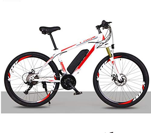 FZYE 26 in Electric Bikes,36V Lithium Battery Save Bike Bicycle Double Disc Brake Shock Absorber Adult Outdoor Cycling Travel,Red