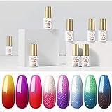 Color Changing Nail Polish 8Pcs Gel Nail Polish Kit...