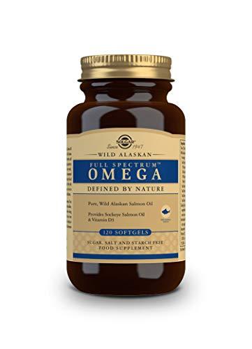 Solgar | Full Spectrum Omega de Salmón Salvaje de Alaska | Favorece la salud cerebral y visual | 120 Cápsulas blandas con aceite puro de salmón salvaje de Alaska, aceite de salmón rojo y vitamina D3