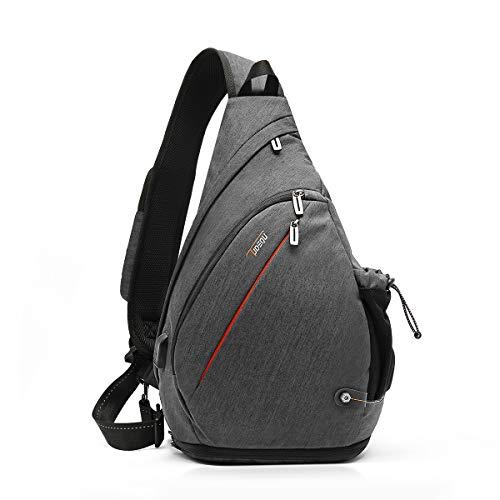 TUDEQU Crossbody Backpack Sling Chest Bag Backpack Hiking Casual Daypack with WET Pocket for Men & Women (DARK GREY)