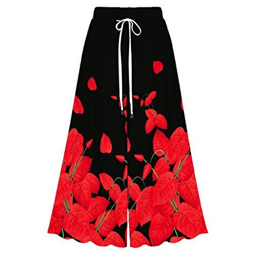 MOTOCO Damen Sommerhose Elastische Taille Blumendruck Lose Beiläufige Damen Breites Bein Palazzo Hosen Hosenrock(3XL(46),Rot 2)