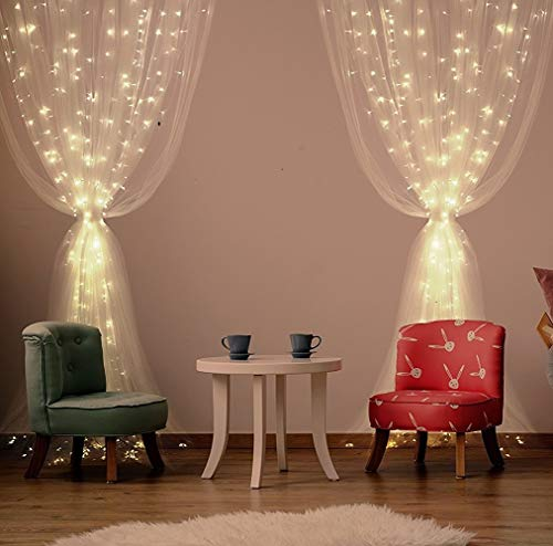 Cortina de Luces LED, Qomolo 300 LED USB Luz Cadena Luces de Navidad 8 Modos Impermeable Interior Exterior Decoraciones para Bodas Jardín Fiestas Navideñas al Aire Libre Aniversario