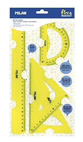 Milan Kit de trazado con regla 30cm, escuadra, cartabón y transportador, amarillo NUEVO