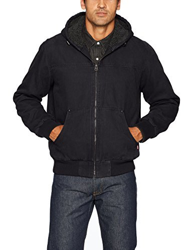 Levi's Men's Cotton Canvas Sherpa Lined Hoody Bomber Jacket, Black, XX-Large