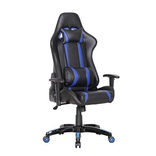 SVITA Gaming Stuhl Schreibtischstuhl Bürostuhl Drehstuhl Schreibtisch (Blau)