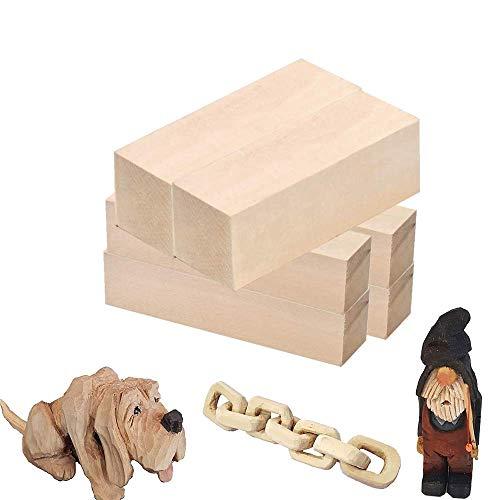 TOKERD 6 Schnitzholz Natürliches Holzblöcke zum Schnitzen & Basteln Lindenholz Schnitzholz für Kinder und Erwachsene(15 x 5 x 5cm, 15 x 2.5 x 2.5cm)