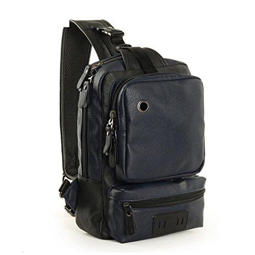 Sincere® PU sac de messager en cuir poitrine / sports de plein air sac de messager / épaule étudiants-bleu sac croix école