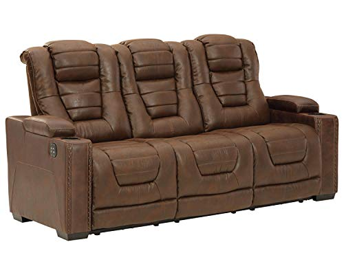 Signature Design by Ashley Owner's Box Faux Leather Power Reclining Sofa, Brown