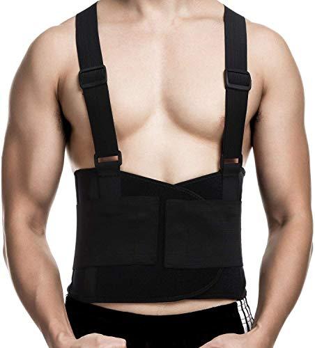CFR Cinturón de Apoyo para Espalda, Faja Lumbar para Hombres y Mujeres, Elástico Ajustable, Correas Removibles, Apoyo Lumbar, Dolor de Espalda Baja, Ideal para Gym, Ejercicio y Entrenamiento Cardio XL