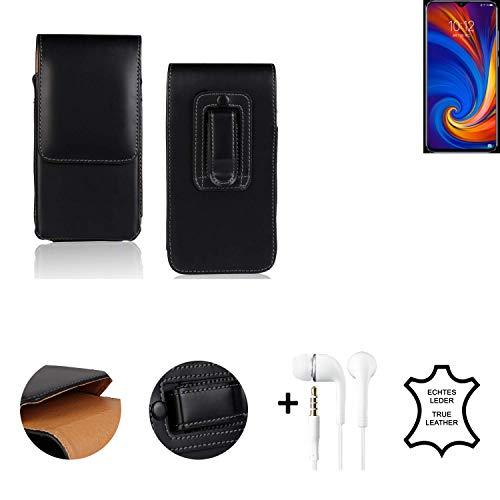 K-S-Trade® Leder Gürtel Tasche + Kopfhörer Für Lenovo Z5s Seitentasche Belt Pouch Holster Handy-Hülle Gürteltasche Schutz-Hülle Etui Schwarz 1x