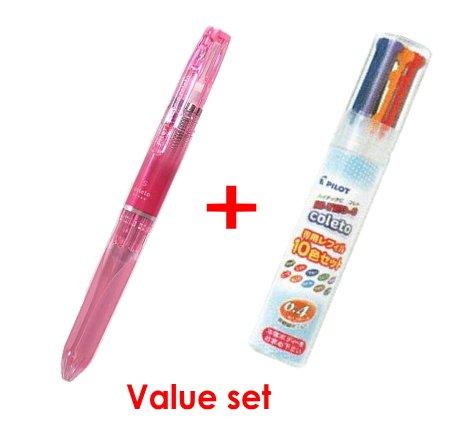Pilot Hi-tec-c Coleto 5 Color Multi Pen Body Component - Clear Pink Body & Multi Pen Ink Cartridge - 0.4 Mm - 10 Color Starter Set