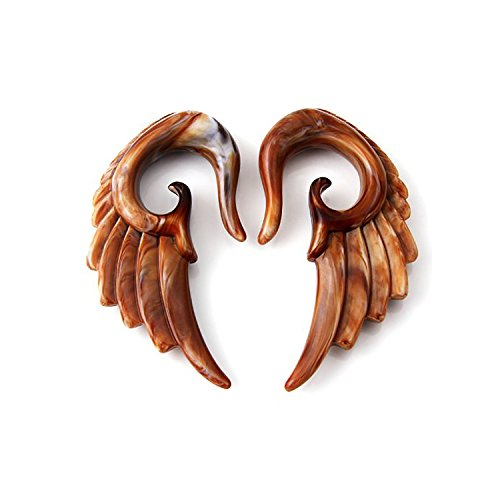 Acrylic Chocolate Transparent Brown Color Angel Wing Design Ear Taper Plugs Gauges (8 MM / 0G)