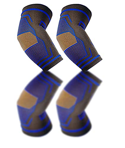 Elbow Brace Compression Support Sleeve (1 pair) - Men, Women - Equipment for Golfers, Gym, volleyball, Tennis, Baseball, Weightlifting, Powerlifting - Protectors - Reduces tendonitis and Pain