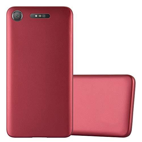 Cadorabo Funda para Sony Xperia XZ1 en Metallic Rojo - Cubierta Proteccíon de Silicona TPU Delgada e Flexible con Antichoque - Gel Case Cover Carcasa Ligera