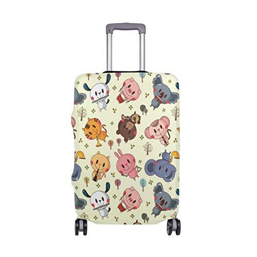 Just Contempo - Copertura per valigia con motivo elefante, maiale tigre
