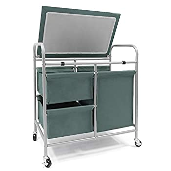 JEFEE Rolling Laundry Sorter Cart Heavy Duty 3 Bags Laundry Hamper Sorter Cart with Ironing Board Removable Bags for Dirty Clothes Storage 26 Lx 16.5 Wx 29 H Blue Grey