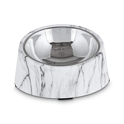 Harmony Slanted Marble-Print Base and Stainless-Steel Dog Bowl Set, 1.7 Cups, Medium, White