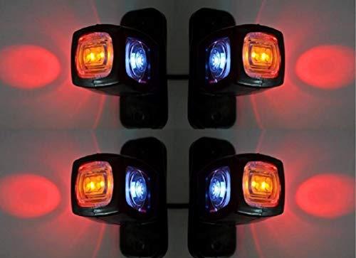 VNVIS - 4 luces de posición laterales, color naranja, blanco y rojo, 12 V, 24 V, LED, para camión, caravana, camping, camión, remolque