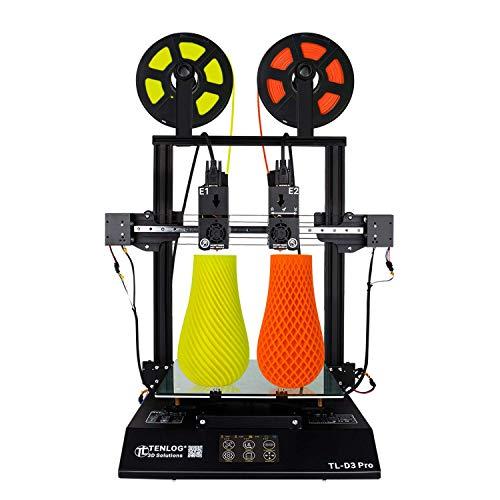 Impresora TL-D3 Pro 3D, extrusora doble independiente con pantalla táctil a color de 4.3 \'\'y fuente de alimentación compatible con PLA ABS PVA TPU con certificación UL,11.8\'\'x11.8\'\'x13.8\'\'(TL-D3 Pro)