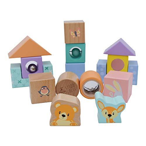 Bloques sensoriales de madera para niños, de jumini, bloques de descubrimiento, gran juguete sensorial para bebés y niños pequeños