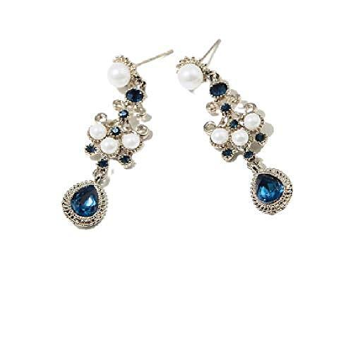 Pendientes originales de plata de ley S925 con perlas de imitación, estilo retro, diseño de cuentos de hadas