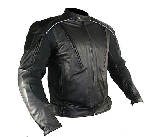 Xelement B9119 Men's 'Frenzy' Black Armored Leather Motorcycle Jacket - Large