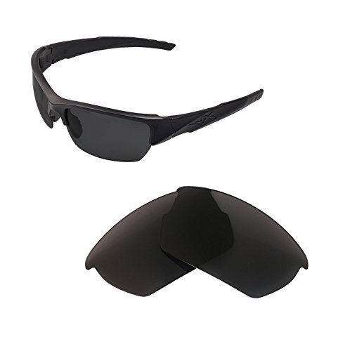 Walleva Replacement Lenses For Wiley X Valor Sunglasses - Multiple Options available (Black - Polarized)