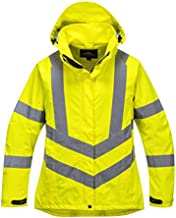 Portwest LW70 Women's High Visibility (Hi Vis) Waterproof Jacket, High Visibility Yellow, X-Large
