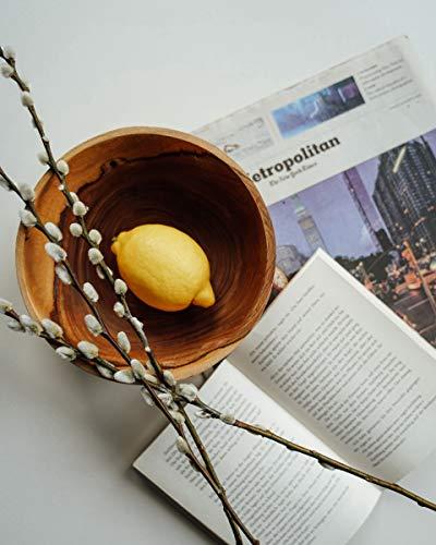 onvacay Teak-Holz Schale Bowl Vegan Salat Smoothie EIS Frühstück Porridge 15cm inkl. Löffel im Set Zertifiziert handgefertigt - 4