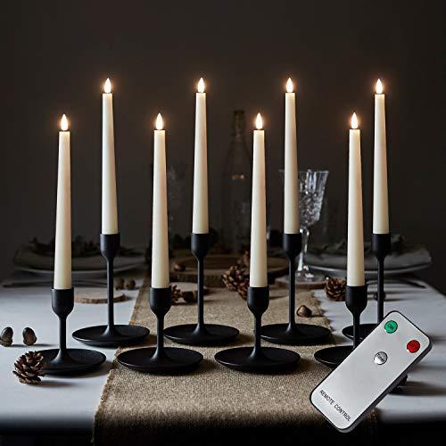 Lights4fun 8er Set TruGlow® LED Stabkerzen mit Fernbedienung Echtwachs in creme 22cm batteriebetrieben