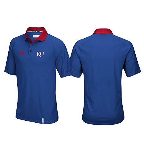 adidas Kansas Jayhawks NCAA Men's Sideline Climachill Performance Blue Polo Shirt (4XL)