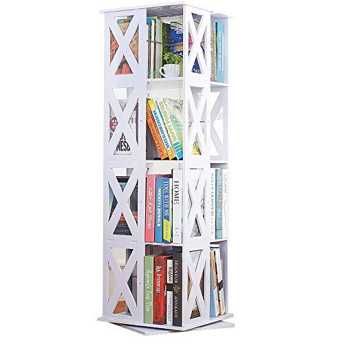 XiuHUa boekenkast, eenvoudig op de grond staand boekenkast, boekenkast van hout voor kinderen, 360 ° draaibare multifunctionele kast boekenkast