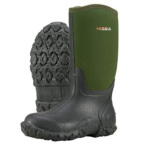 Hisea Men's Mid Rain Boots Waterproof Rubber Boots for Men Muck Mud Boots Outdoor