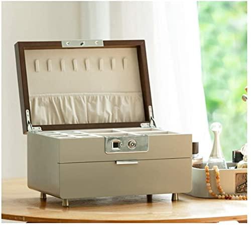 WHXL Caja de joyería Joyería de huellas dactilares Caja de joyería de madera Caja de joyería Caja de almacenamiento de joyería Caja de joyería de regalo de niña