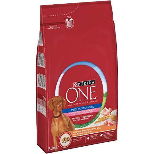 Purina One Medium/Maxi Crocchette Cane Controllo del Peso Ricco in Tacchino e Riso - 4 Sacchi da 2.5 kg