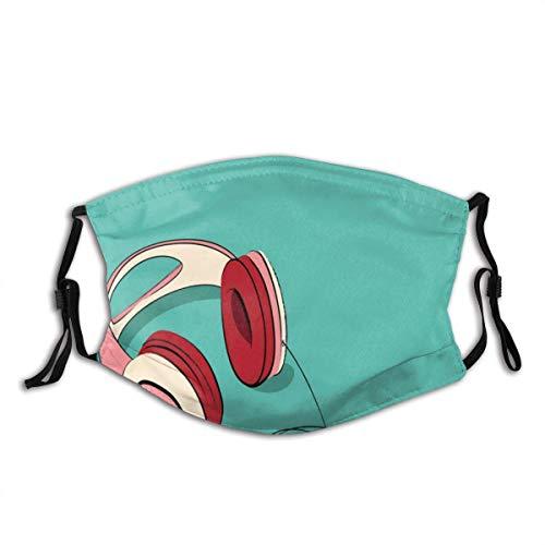 Mundschutz Gesichtsbedeckung Indie Cool Pink Retro Kopfhörer Print Gesichtsbedeckung Waschbar Wiederverwendbar, Radfahren Gesichtsdekorationen Gesichtsdekorationen