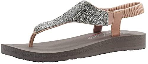 Skechers Women s Meditation Rock Crown Flat Sandal Light Pink 8 M US