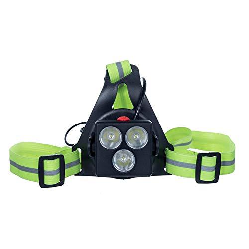 starte Luces para Correr por la Noche al Aire Libre Luz LED en el Pecho Luz de Advertencia Trasera con batería Recargable para Acampar, Caminar, Correr, Trotar (3 Modos Y ÁNGULO Ajustable)