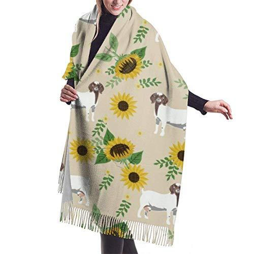 shenguang Boer Cabra Girasol Granja Floral Cabra Floral Cabra Boer Cabra Taupe Chal Oversiz para mujer o Abrigo clido Bufandas de invierno Manta Bufanda Capa Pashmina