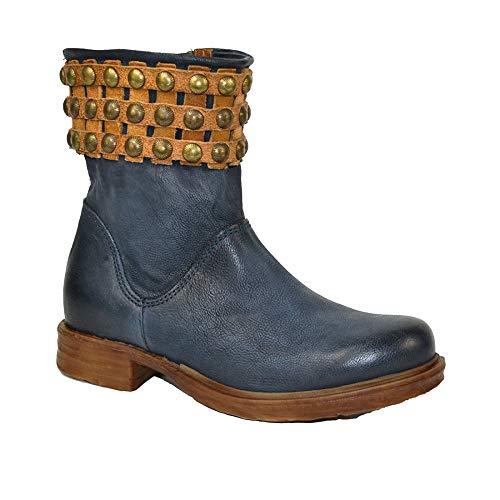 A.S.98 Airstep Damen Leder Stiefelette Stiefel Lederstiefel Boots Schuh Blau Natur 36 EU