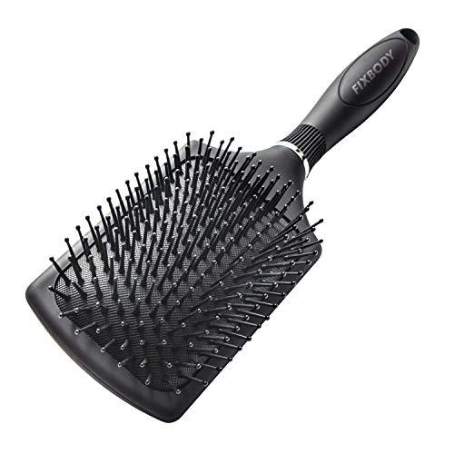 FIXBODY Paddle Hair Brush with Soft Cushion, Detangling & Smoothing Hiarbrush for Men, Women and Kids, Detangler for All Hair Types - Black Matte
