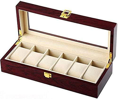 Uhrenbox,Hölzerne Uhrenbox 6-Slot Armreif Kissenbox Schmuck Schmucketui Kreatives einfaches Retro-Geschenk für Männer Abnehmbare Matte Herren S Valet Tray, Uhrenbox Uhrenbox Gehäuse Schmuck