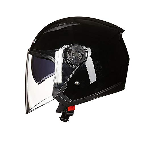 TBTBZXCV Open Face Motorcycle Helmet 3/4 Half Helmet Bright White Flip-Up Double Sun Visor Crash Jet-Helmet, for Mofa Motorbike Moped Cruiser Chopper Scooter,55~57cm M