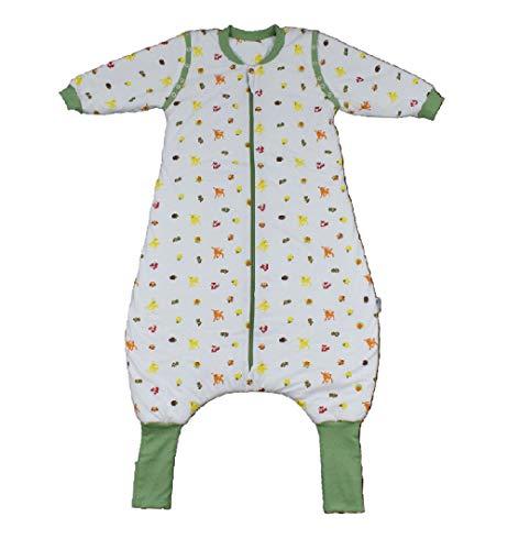 Schlafsack mit Füßen Ganzjahres-Variante mit verlängerten Fußbündchen zum Umklappen und ABNEHMBAREN ÄRMELN in 2.5 Tog - Waldtiere - 100 cm